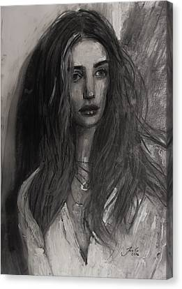 Canvas Print featuring the painting Rosie Huntington-whiteley by Jarko Aka Lui Grande