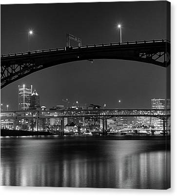 Ross Island Bridge At Night Canvas Print by Zeb Andrews