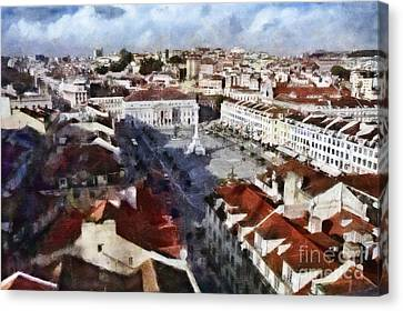 Canvas Print featuring the photograph Rossio Square by Dariusz Gudowicz