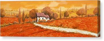 Vineyard Canvas Print - Rosso Papavero by Guido Borelli