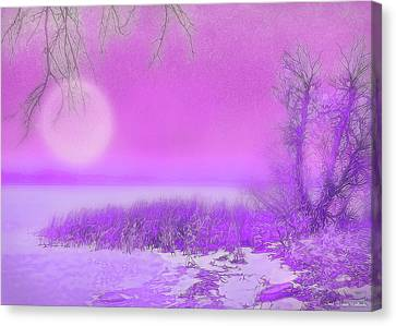Rosy Hued Moonlit Lake - Boulder County Colorado Canvas Print