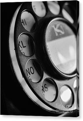 Rotary Dial In Black And White Canvas Print by Mark Miller