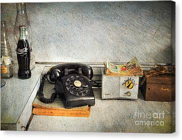 Rotary Dial Phone In Black S And H Stamps Canvas Print by Paul Ward