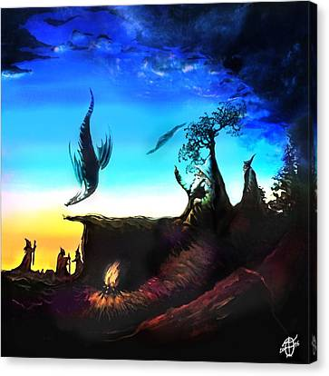 Rotatable Art Wizards Walking With Dragons Canvas Print by Frank Franklin