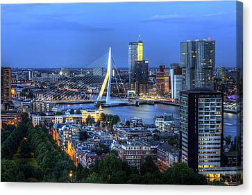 Canvas Print featuring the photograph Rotterdam Skyline With Erasmus Bridge by Shawn Everhart