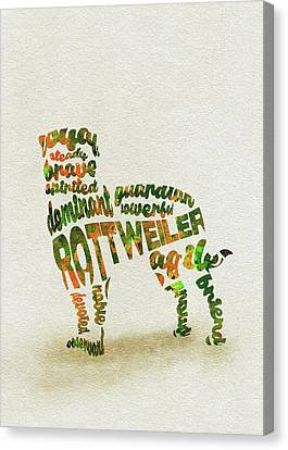 Canvas Print featuring the painting Rottweiler Dog Watercolor Painting / Typographic Art by Inspirowl Design