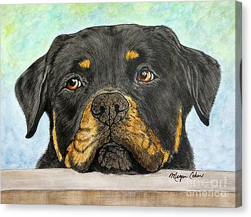 Rottweiler's Sweet Face 2 Canvas Print
