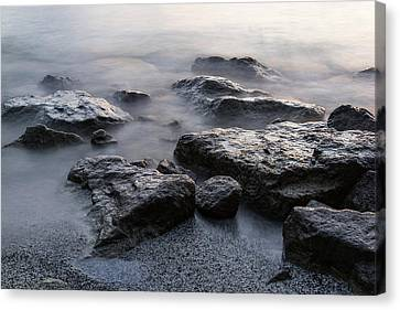 Rough And Soft - Smoky Waves And Rocks On The Beach  Canvas Print by Georgia Mizuleva