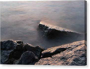 Rough And Soft - Sunlit Rocks On The Beach At Sunrise Canvas Print by Georgia Mizuleva