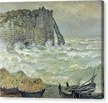 Rough Sea At Etretat Canvas Print