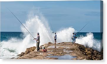 Rough Sea Fishing Canvas Print
