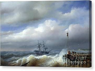 Rough Sea In Stormy Weather Canvas Print by Paul Jean Clays
