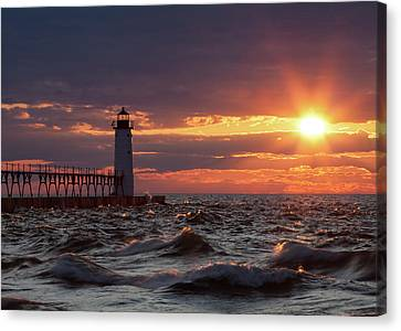 Canvas Print featuring the photograph Rough Water Sunset by Fran Riley