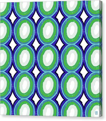 Round And Round Blue And Green- Art By Linda Woods Canvas Print by Linda Woods