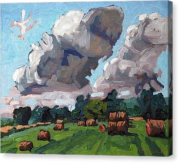 Round Bale Cumulus Canvas Print by Phil Chadwick