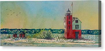 Canvas Print featuring the painting Round Island Lighthouse by LeAnne Sowa