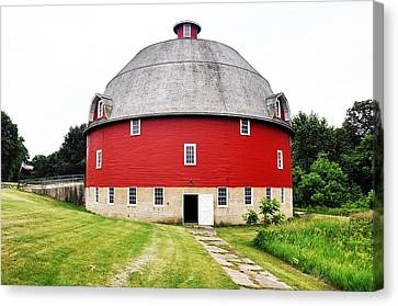 Round Red Barn Canvas Print by Daniel Ness