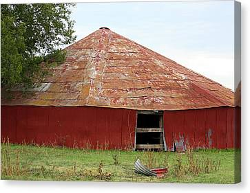 Canvas Print featuring the photograph Round Red Barn by Sheila Brown