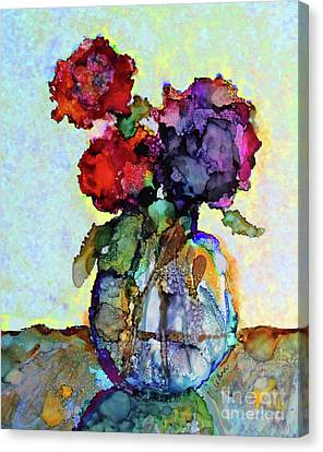 Canvas Print featuring the painting Round Table With Flowers by Priti Lathia