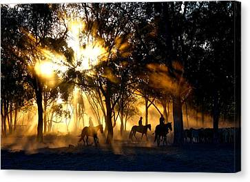 Roundup In By Dusk Canvas Print