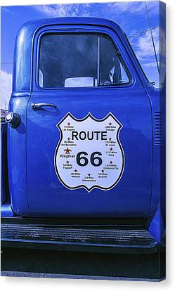 Aging Canvas Print - Route 66 Blue Truck by Garry Gay