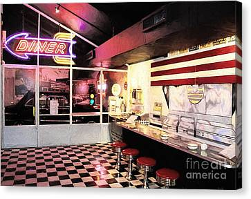 Old Diner Bar Stools Canvas Print - Route 66 Diner by Mel Steinhauer