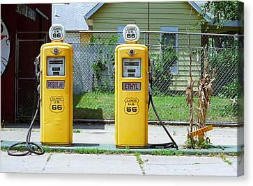 Route 66 - Illinois Gas Pumps Canvas Print by Frank Romeo