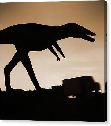 Route 66 - Lost Dinosaur  Canvas Print by Mike McGlothlen