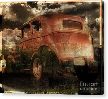 Rusted Cars Canvas Print - Route 66 by Mindy Sommers