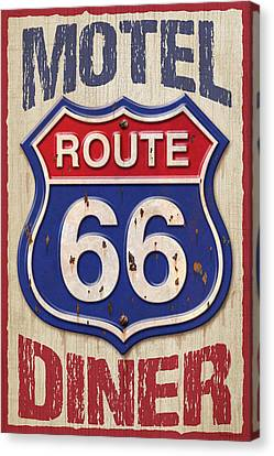 Route 66 Motel Diner Canvas Print by WB Johnston