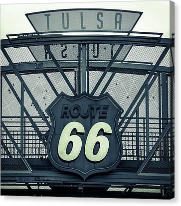 Route 66 Neon Sign - Police Dept Colors - Tulsa Oklahoma Canvas Print by Gregory Ballos