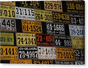 Route 66 Oklahoma Car Tags Canvas Print by Susanne Van Hulst
