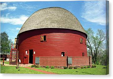 Route 66 - Round Barn Canvas Print by Frank Romeo