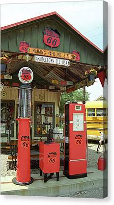 Shea Canvas Print - Route 66 - Shea's Gas Station by Frank Romeo