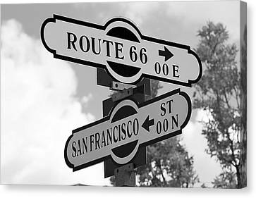 Route 66 Street Sign Black And White Canvas Print