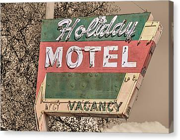 Canvas Print featuring the photograph Route 66 Vintage Americana Holiday Motel by JC Findley