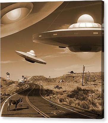 Route 66 - You Never Know . . . Canvas Print by Mike McGlothlen
