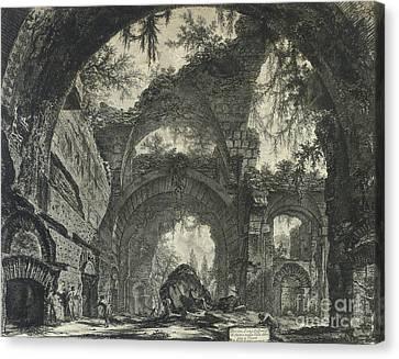 Ruin Canvas Print - Rovine D'una Galleria Di Statue Nella Villa Adriana A Tivoli  by Piranesi