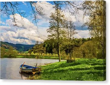 Row Boat On Rural Lake Canvas Print by Clive Littin