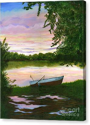 Row Boat Painting Canvas Print by Judy Filarecki