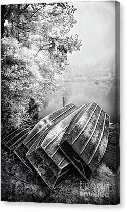 Row Boats On Blue Ridge Parkway Price Lake Bw Canvas Print by Dan Carmichael