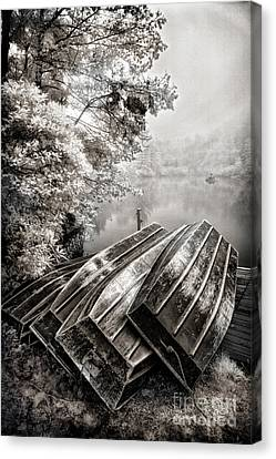 Row Boats On Blue Ridge Parkway Price Lake Bw Fx Canvas Print by Dan Carmichael
