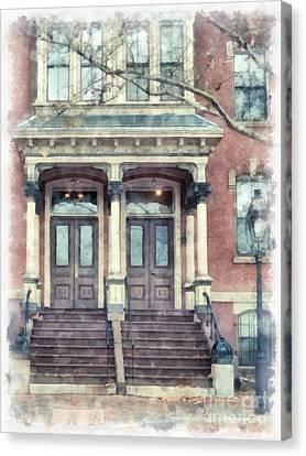 Row House Providence Rhode Island Canvas Print by Edward Fielding