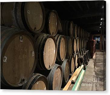 Row Of Barrels Canvas Print by Evan N