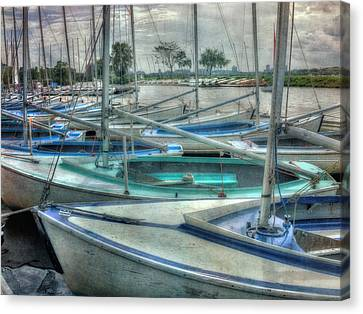 Charles River Canvas Print - Row Of Sailboats - Charles River - Boston by Joann Vitali