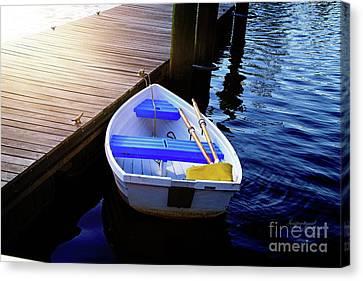 Rowboat At Sunset Canvas Print