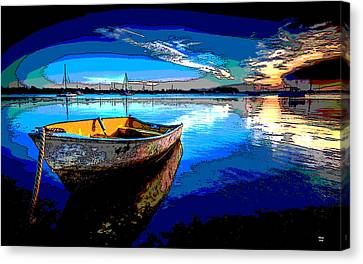 Rowboat At Sunset Canvas Print by Charles Shoup