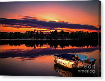 Rowboat At Sunset Canvas Print by Jarrod Erbe