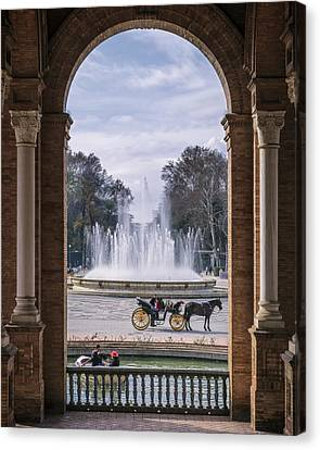 Rowboat, Fountain, Horse And Carriage Canvas Print by Joan Carroll