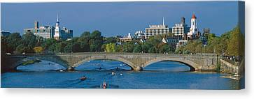Rowers On Charles River, Harvard Canvas Print by Panoramic Images